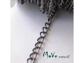 Řetízek kovový šíře 5x3,5mm, délka 1m, antracit