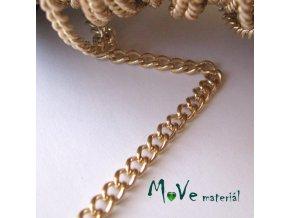 Řetízek kovový šíře 5x3,5mm, délka 1m, zlatý