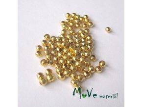 Korálek hladký kovový 3,2mm/4g, zlatý