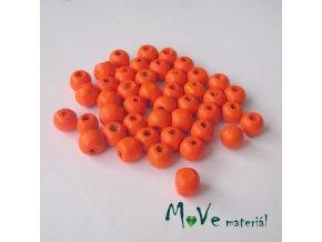Dřevěný korálek 8x7mm, 7g, neonově oranžový