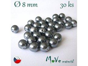 České voskové perle 8mm, 30 ks, šedostříbrné