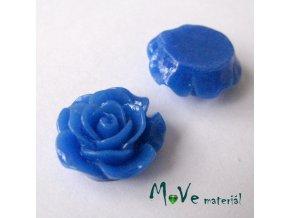Kabošon růžička lesklá D3 - resin - 2ks, modrá