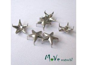 Cvočky na oblečení 10mm hvězda, 6ks, platina