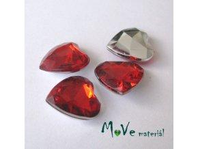 Plastový kabošon srdce 12x12x4,5mm/4ks, červený