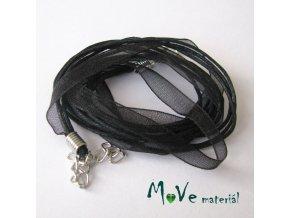 Šňůrka bavlněná se stuhou délka 45cm, černá