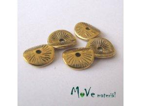 Korálek kovový disk 9,5x8,5mm, 5ks, starozlatý