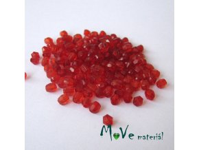 Korálek plast - broušený 4mm, cca 150ks, červený