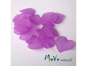 Akrylové transparentní lístečky, 15ks, růžovofialové