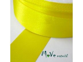 Stuha atlasová jednolící 25mm, 1m, žlutá