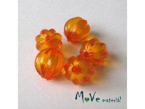 Korálek plast kulička 12mm, 5ks, oranžový