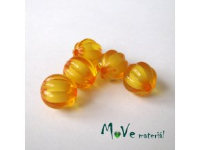 Korálek plast kulička 12mm, 5ks, sv. oranžový