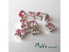 Našívací šaton v kovovém 5x5mm, 10ks, růžový
