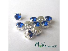 Našívací šaton v kovovém 5x5mm, 10ks, modrý
