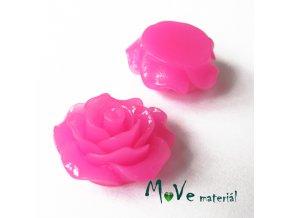 Kabošon růžička lesklá B2 - resin - 2ks, růžová