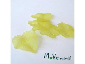 Akrylové matné lístečky, 5ks, žluté