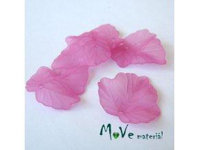Akrylové matné lístečky, 5ks, tm. růžové