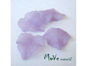 Akrylové matné lístečky, 5ks, sv. fialové