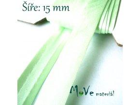 Šikmý proužek saténový š.15mm zažehlený zelenkavý
