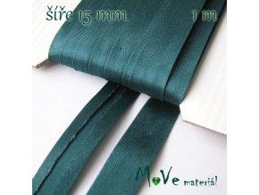 Šikmý proužek saténový š.15mm zažehlený smaragdový