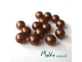 České voskové perle 10mm,14ks, hnědé