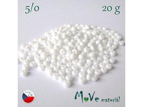 Český rokajl, 5/0, 20 g, bílý