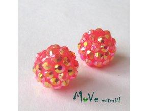 Pryskyřičný korálek - kulička 14mm,1ks, růžovočervený
