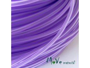 Pryžová šňůra 3mm/1m, fialová průsvitná - dutá