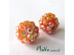 Porcelánový korálek - kulička 12mm,1ks, oranžový