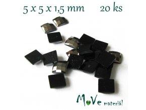 Plastový kabošon čtverec 5x5x1,5mm/20ks, antracit