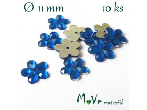 Květina plast 11mm našívací 10 ks stř. modrá