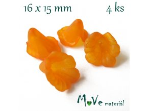 Zvonečky transparentní 16x15mm, 4ks, oranžové