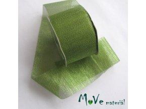 Řezaná stuha s lurexem zelená, 5cm, 1m