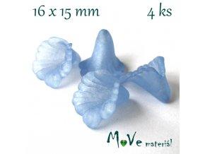 Zvonečky transparentní 16x15mm, 4ks, modré