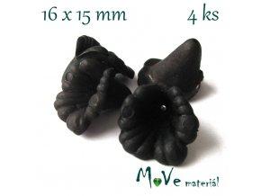 Zvonečky transparentní 16x15mm, 4ks, černé