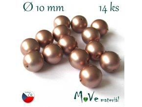 České voskové perle 10mm,14ks, zlatobéžové