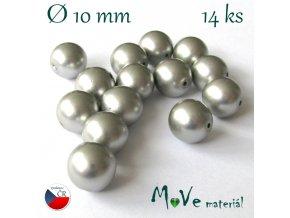 České voskové perle 10mm,14ks, platinové