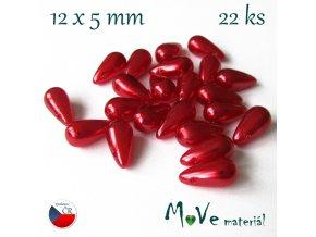 České voskové perle červené slzičky 12x5mm 22ks