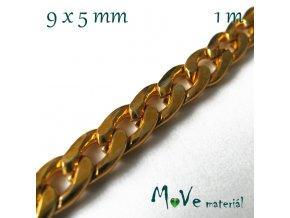 Řetízek aluminium (hliník) - 9x5mm/1m, zlatý
