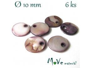 Perleťová placička 10x1,5-2mm 6ks, fialovošedá