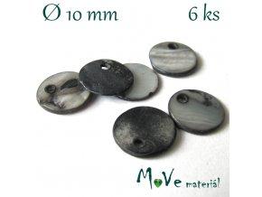 Perleťová placička 10x1,5-2mm 6ks, šedá