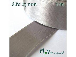 Stuha atlasová jednolící 25mm, 1m, šedá