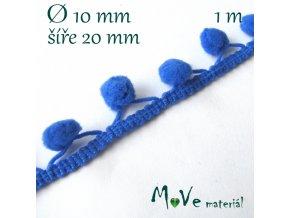 Prýmek šíře 20mm bambulky 10mm, 1m, modrý