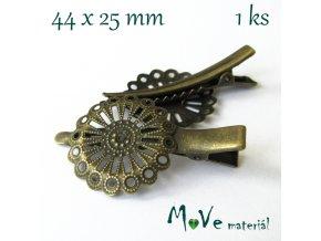 Vlasová spona filigrán 44mm, staromosaz, 1ks