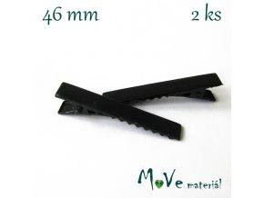 Spona do vlasů plochá se zoubky délka 46mm, 2ks, černá