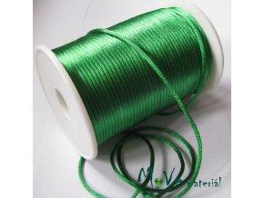 Šňůra 2mm saténová, trávově zelená,1m