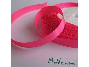 Stuha atlasová jednolící 12mm, 1m růžová neonová