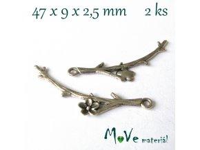 Mezikus VĚTVIČKA 47x9x2,5mm, 2ks, starostříbro