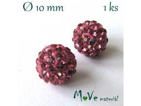 Polymerový korálek - kulička 10mm,1ks, tm. růžový