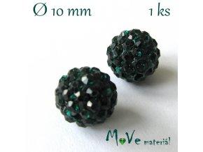 Polymerový korálek - kulička 10mm,1ks, smaragdový