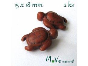 Želva howlitová 15x18mm, 2ks, hnědá
